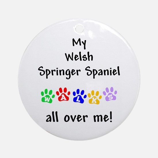 Welsh Springer Spaniel Walks Ornament (Round)