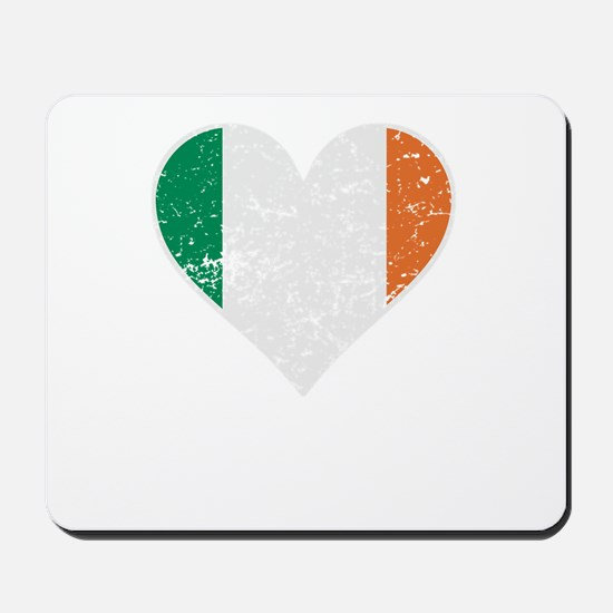 Distressed Irish Flag Heart Mousepad
