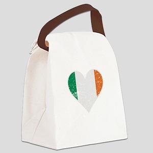 Distressed Irish Flag Heart Canvas Lunch Bag