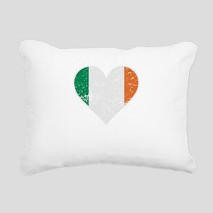 Distressed Irish Flag Heart Rectangular Canvas Pil