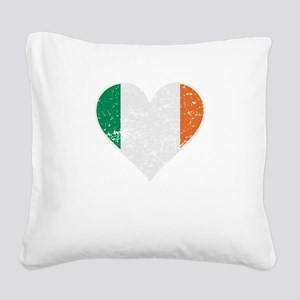 Distressed Irish Flag Heart Square Canvas Pillow