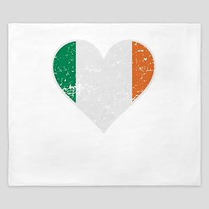 Distressed Irish Flag Heart King Duvet