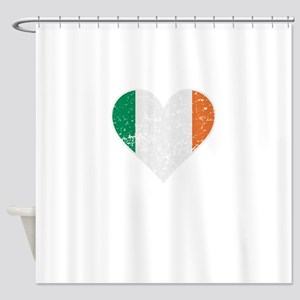 Distressed Irish Flag Heart Shower Curtain