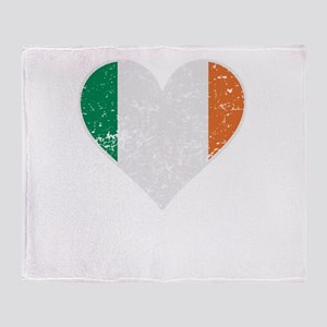 Distressed Irish Flag Heart Throw Blanket