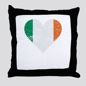 Distressed Irish Flag Heart Throw Pillow