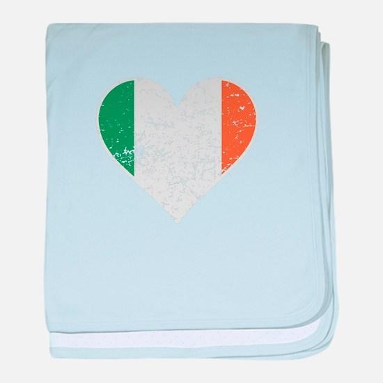 Distressed Irish Flag Heart baby blanket
