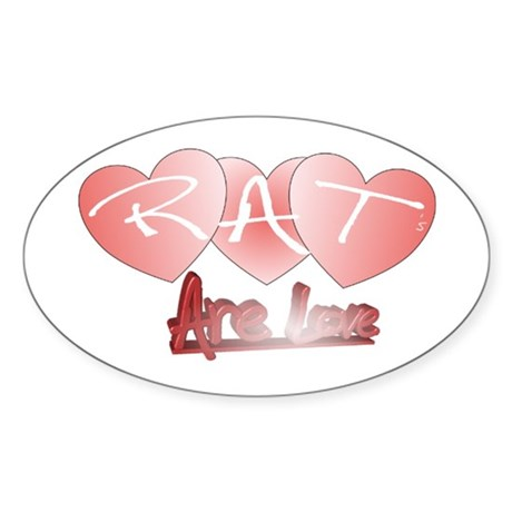 Rats Are Love Oval Sticker