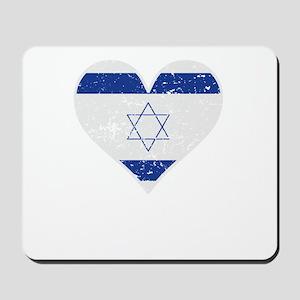 Distressed Israeli Flag Heart Mousepad