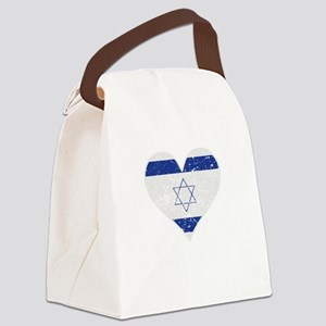 Distressed Israeli Flag Heart Canvas Lunch Bag