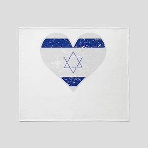 Distressed Israeli Flag Heart Throw Blanket