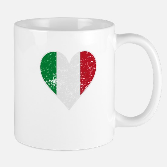 Distressed Italian Flag Heart Mugs