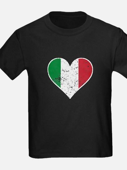 Distressed Italian Flag Heart T-Shirt