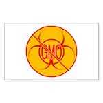 No GMO Bio-hazard Warnin Sticker (Rectangle 10 pk)
