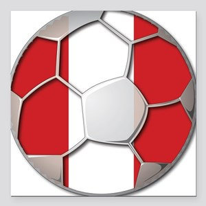 Peru Flag World Cup Futbol Soccer Football Ball Sq