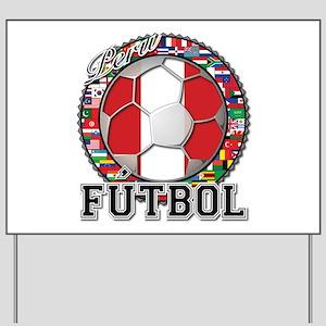 Peru Flag World Cup Futbol Ball with World Flags Y