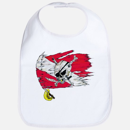 Red Dive Flag Skull Bib