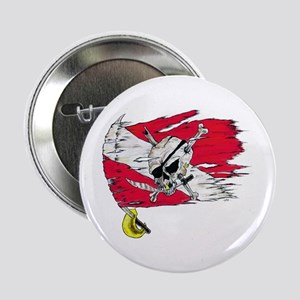 Red Dive Flag Skull Button