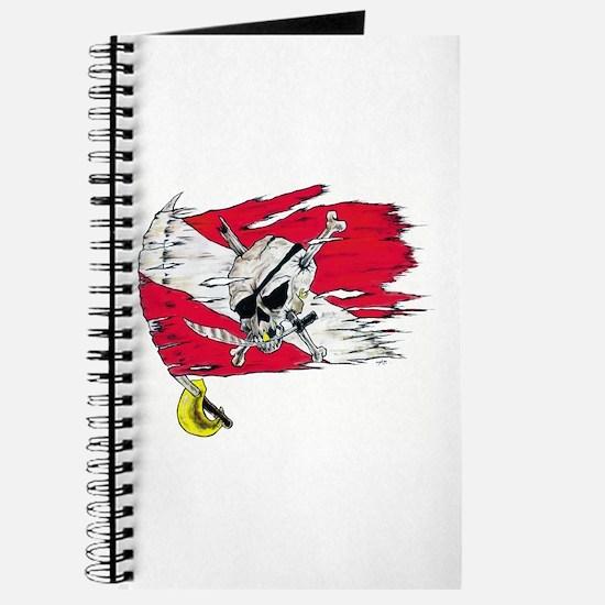 Red Dive Flag Skull Journal