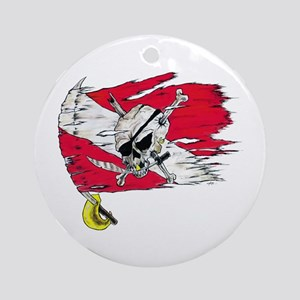 Red Dive Flag Skull Ornament (Round)