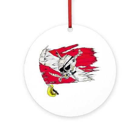 Red Dive Flag Skull Ornament (Round)