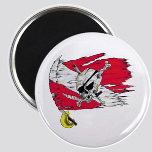 Red Dive Flag Skull Magnet