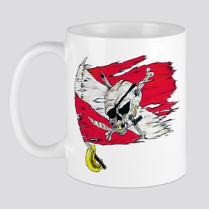 Red Dive Flag Skull Mug