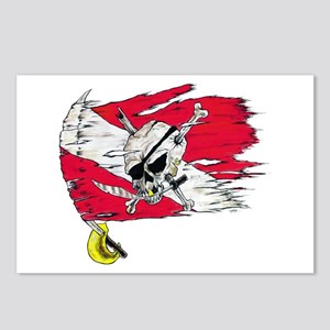 Red Dive Flag Skull Postcards (Package of 8)