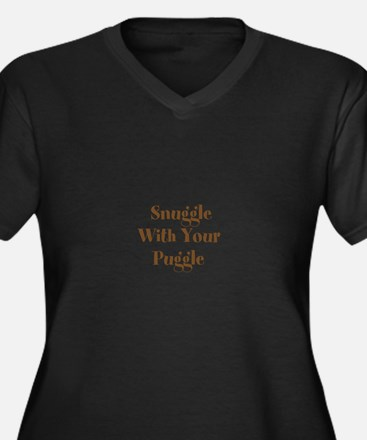 Snuggle With Your Puggle Women's Plus Size V-Neck