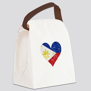 Distressed Filipino Flag Heart Canvas Lunch Bag
