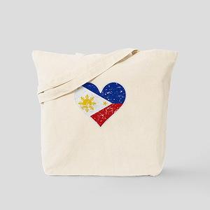 Distressed Filipino Flag Heart Tote Bag