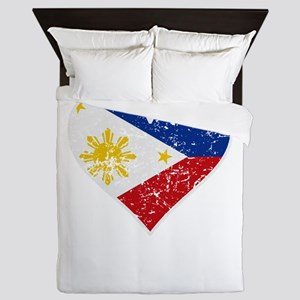 Distressed Filipino Flag Heart Queen Duvet