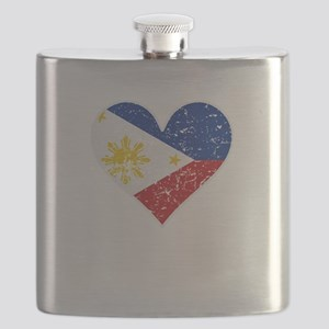 Distressed Filipino Flag Heart Flask