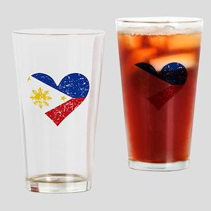 Distressed Filipino Flag Heart Drinking Glass