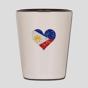 Distressed Filipino Flag Heart Shot Glass