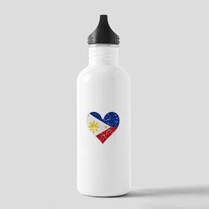 Distressed Filipino Flag Heart Water Bottle