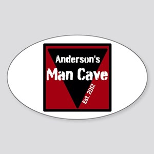 Personalized Man Cave Sticker (Oval)