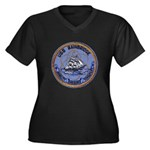 USS BAINBRID Women's Plus Size V-Neck Dark T-Shirt