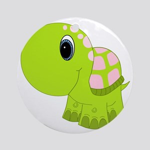 Pink and Green Baby Turtle Ornament (Round)