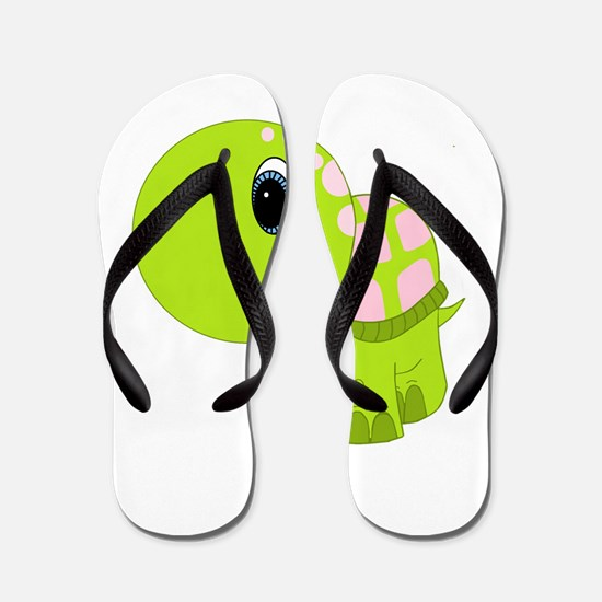 Pink and Green Baby Turtle Flip Flops