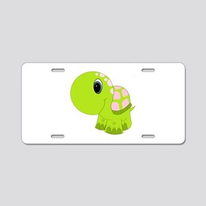 Pink and Green Baby Turtle Aluminum License Plate