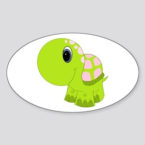 Pink and Green Baby Turtle Sticker (Oval)