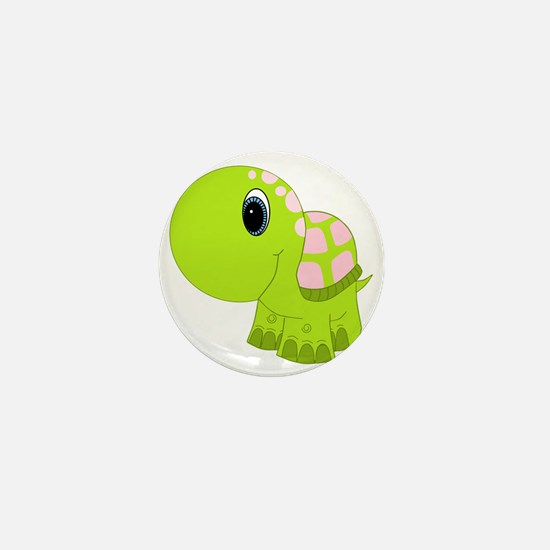 Pink and Green Baby Turtle Mini Button