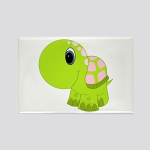 Pink and Green Baby Turtle Rectangle Magnet