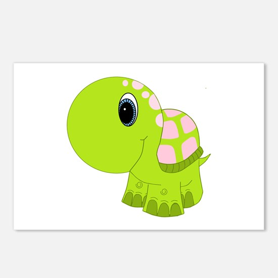 Pink and Green Baby Turtle Postcards (Package of 8
