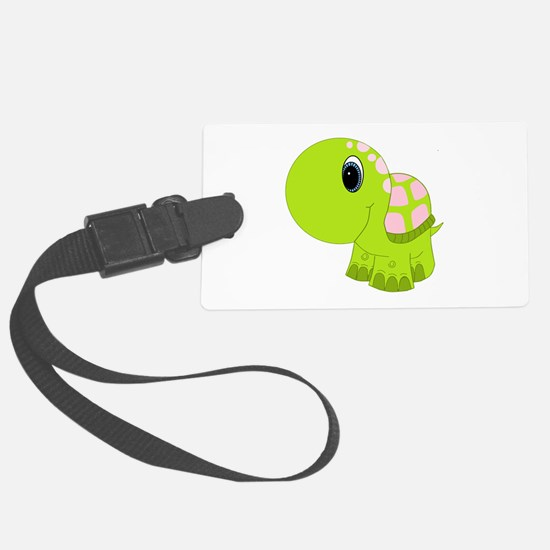 Pink and Green Baby Turtle Luggage Tag