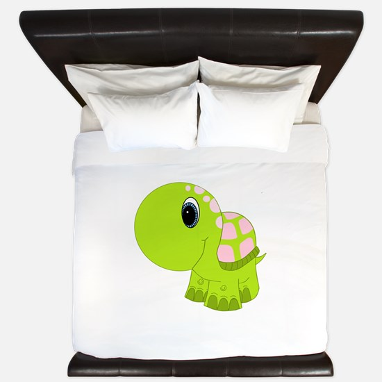 Pink and Green Baby Turtle King Duvet