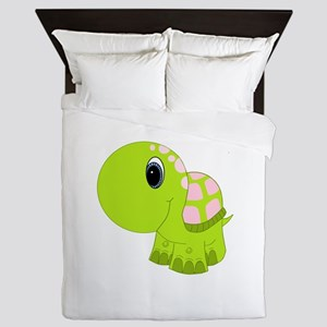 Pink and Green Baby Turtle Queen Duvet