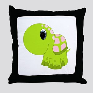 Pink and Green Baby Turtle Throw Pillow