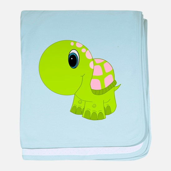 Pink and Green Baby Turtle baby blanket