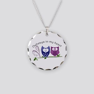 Owlways in my heart Necklace Circle Charm